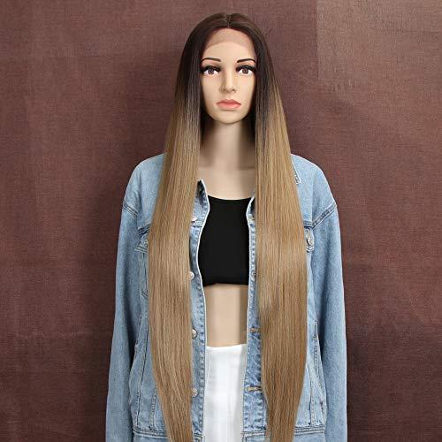 Style Icon Lace Front Perücken Wigs 94cm Super Lange Spitze Front Seidig Gerade Haare Perücken Für Frauen Weichen Haarersatz Synthetische Perücken -