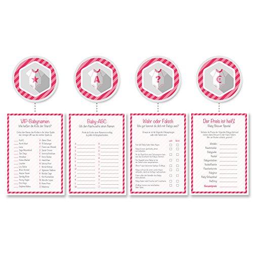 Babyparty Baby-Shower Deko Partyspiel Komplettset 32 Stück, 8x Der Preis ist Heiß, 8x Wahr oder Falsch, 8x VIP-Babynamen, 8x Baby-ABC, mädchen rosa pink, von Mia-Félice Decorations