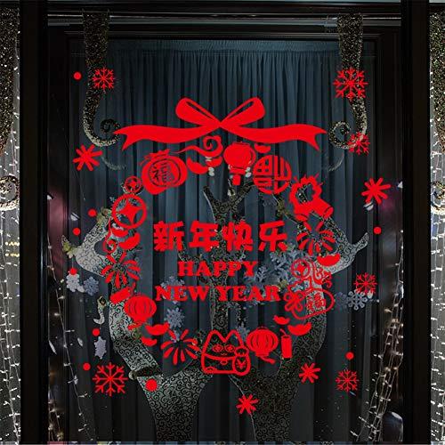 (JJZZ Wandtattoos Red Frohes Neues Jahr Neujahr Frühlingsfest Chinesisches Jahr Wandaufkleber Fenster Wohnzimmer Dekoration Wandaufkleber Papier 45 * 60 cm)