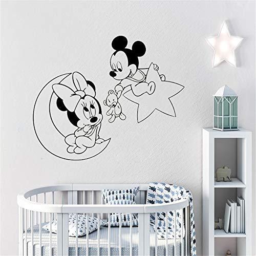 Wandaufkleber Kinderzimmer Mickey Minnie Mouse Wandkunst Aufkleber Aufkleber Wandtattoo Mickey Maus Minnie Mouse Moon Star Wandtattoo Creative Home Decor Vinyl Wand (Minnie Maus-kühlschrank)