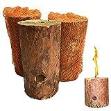 Fuego sueco, tronco sueco de madera, vela de jardín