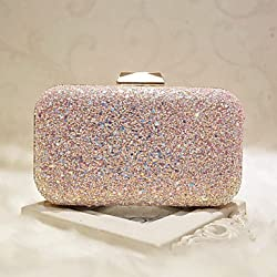 Bolso de brillantes para boda en tonos rosados
