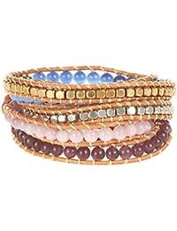 Myc-Pulsera para mujer, diseño de Princesa, diseño étnico de piedra mineral natural, color rosa