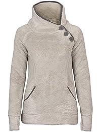 Sublevel Teddy Fleece Jacke mit Stehkragen und Daumenlöchern | Eleganter Pullover aus hochwertiger Fleece