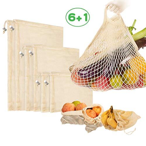 Usetcc Sacchetti Riutilizzabili per Frutta, Sacchetti in Rete per Verdura, Pieghevoli e Lavabili Borse Rete Spesa 7Pezzi(6 PCS+1 Mesh Borsa Spesa)