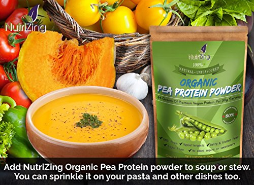 51hsIAL%2B2FL - NutriZing's Natural Organic Pea Protein Powder ~ 80% Essential Protein ~ Peas Sourced From Canada & Processed in the UK ~ Pure & Unflavoured ~ Over 30 servings & 1 month's supply ~ Best For Vegetarians and Vegans ~ Helps Build Muscle ~ Soy & Gluten Free ~ 1kg pouch ~ Nutrition for Sport & Exercise ~ Mass Gainer