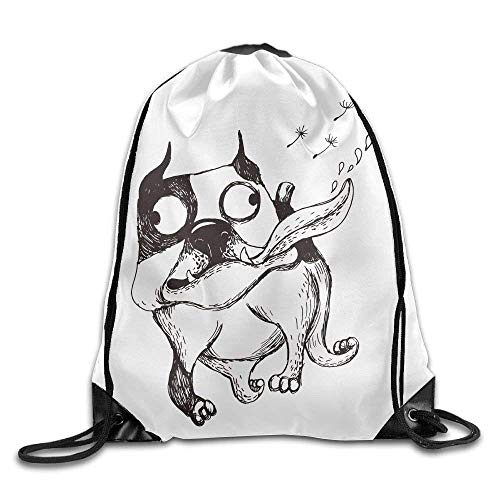 ZHIZIQIU Casual Drawstring Backpack Bag Men Women - Sports Gym Sack Sackpack Yoga Dance Travel Daypack - (Naughty Dog) - -