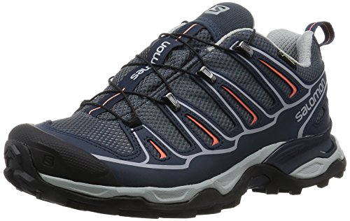 Salomon Damen X Ultra 2 GTX Trekking- & Wanderhalbschuhe Grau (Grey Denim/DEEP BLUE/Melon BLOOM) 39 1/3 EU