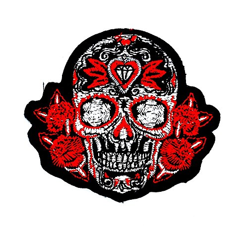 rabana rot Mexican Sugar Skull Rose Awesome Cool Biker Motorrad Patch Kinder Cute Animal Patch für Heimwerker-Applikation Eisen auf Patch T Shirt Patch Sew Iron on gesticktes Badge Schild Kostüm