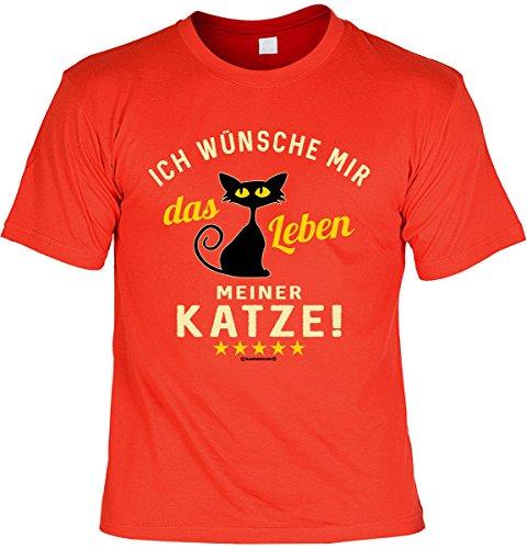 Katzen/Spaß/Fun-Shirt-Set inkl. Mini-Shirt/Flaschendeko: Ich wünsche mir das Leben meiner Katze! tolles Geschenkset Rot