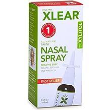 Cuidado del seno con el aerosol nasal de solución salina con xilitol, 45 ml,