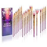 Fashion Base® 20-teiliges Pinsel-Set für Make-Up, hochwertige Pinsel für Lidschatten, Eyeliner, Verblenden, Contouring, Puder, Augenbrauen, mit Regenbogen-Farbverlauf, mit Hülle