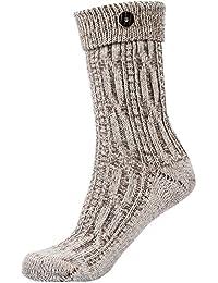 Gaudi-Leathers Trachtenstrümpfe Socken Zopfmuster mit Umschlag und Knopf in beige meliert oder natur weiß