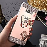Coque Galaxy S9, Coque Galaxy S9 Miroir et Paillettes, SainCat Ultra Slim Paillette Silicone Coque pour Samsung Galaxy S9, Coque Silicone Bling Brillante Glitter Strass Diamant Motif 3D Ours Silicone Soft Gel TPU Cover Anti-Scratch, Coque Souple Ultra Mince Housse Silicone Ultra Thin Shockproof Shell Ultra Slim Bumper Femme Case Skin Étui Case Coque Anti Choc Housse Bumper Cover pour Samsung Galaxy S9-Or Rose