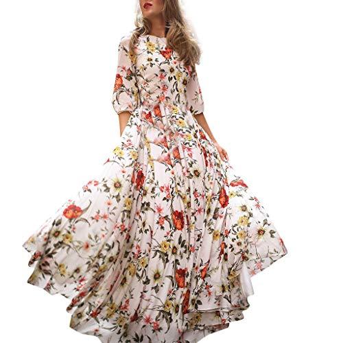 Vovotrade 2019 Nouveau Femmes Robe de Plage Bohême Longue Floral Ete Sexy Irrégulière Plissée Style Robe Longue Fleurie Bustier Bandeau Robe de Plage Bohême Imprimé Dress été pour Soirée Cocktail