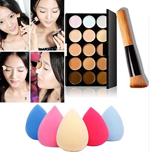 Susenstone 15 Couleurs de Maquillage Correcteur Contour Palette + Eau Éponge Puff (Random Color) + Pinceau de Maquillage
