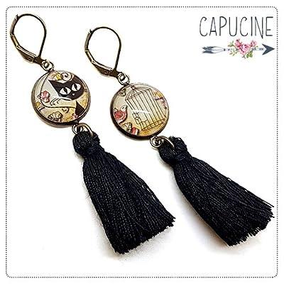 Boucles d'oreilles pendantes avec cabochon chat - Boucles d'oreilles pompons - Boucles d'oreilles dormeuses bronze - Chats à l'affût