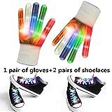 LED Flashing Handschuhe Und Schnürsenkel - Enthalten 1 Paar Weiß Blinkende LED-Handschuhe, 2 Paar Weiße Multi-Color LED Schnürsenkel Für Rave, Party Oder Hip-Pop-Tanz (1 Paar Weiße Handschuhe + 2 Paar Schnürsenkel)