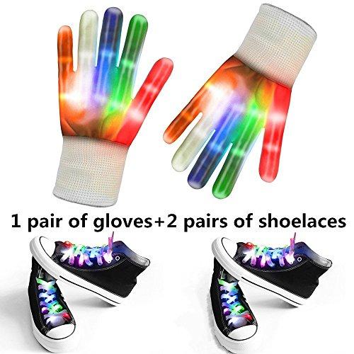 uhe Und Schnürsenkel - Enthalten 1 Paar Weiß Blinkende LED-Handschuhe, 2 Paar Weiße Multi-Color LED Schnürsenkel Für Rave, Party Oder Hip-Pop-Tanz (1 Paar Weiße Handschuhe + 2 Paar Schnürsenkel) (Halloween Paar Idee)