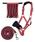 HKM Sports Equipment HKM Halfter mit Strick Karabiner & Fliegenfransen