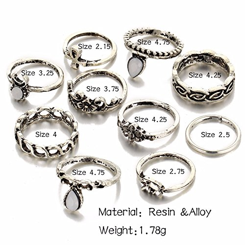 Shining Diva Fashion Antique Silver Set of 10 Midi Finger Rings for Girls (Silver) (8465r)
