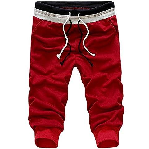 Alamor Men's Casual Elastic Waist Sports Capri Pants Fashion Pure Color Harem Pants-Red-S