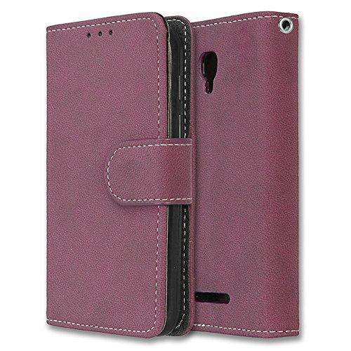 Alcatel Pixi First Hülle, Chreey Matt Leder Tasche Retro Handyhülle Magnet Flip Case mit Kartenfach Geldbörse Schutzhülle Etui [Rose Rot]