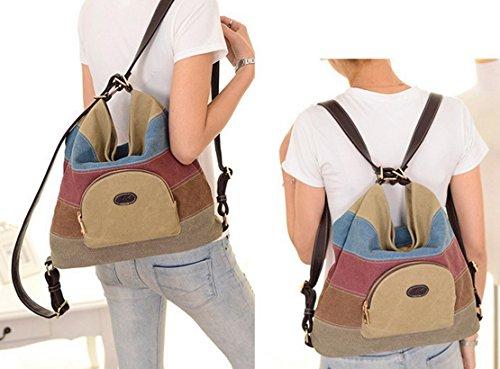 fb2e87ba6b1d2 ... Panegy Damen Frauen Casual Tasche Mode Bunt Streifen Canvas  Schultertasche Fashion Ethnischen Stil Handtasche Für Büro ...