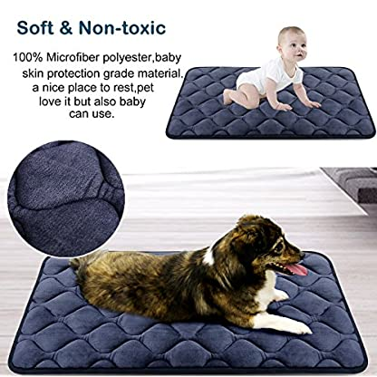 Hero Dog Dog Bed Extra Large Washable Crate Mattress 47 Inch, Soft Non Slip Pet Fleece Cushion Pad Blue XL 4