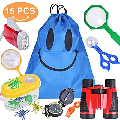 Outdoor Explorer Kit, 15 Pack Boys Gifts Kids Adventurer Exploration Equipment with Magnifying Glass, Magnification Binoculars, Flashlight, Compass, Bug Collector, Plastic Insects, Butterfly Net