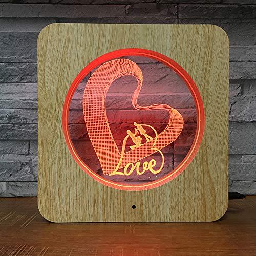 Touch Gerahmt (Romantische Herzförmige Holz Gerahmt Fotorahmen Licht Bunte Touch Fernbedienung Farbverändernde 3d Nachtlicht Liebe Visuelle Schlafzimmer Wohnzimmer Dekorative Tischlampe berühren)