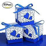 RayMoon Pack of 50 Kreative Herz Form Gastgeschenkbox Kartonage Bonboniere für Hochzeit Geburtstag Blau