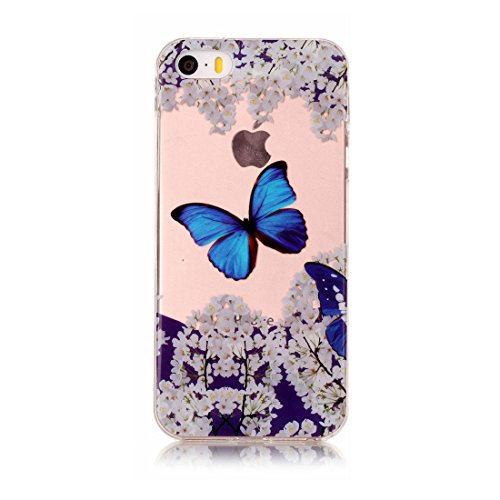 iPhone 5S Custodia, [Materiale flessibile TPU Gel trasparente del silicone Grip sottile e leggero ] Copertura iPhone 5 SE 5G Case, Shock Proof [ Cartoon Totem bianca ] # # 5