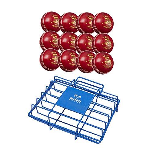 RAM Cricket 4 Arten CricketBälle mit Luxus Tragetasche Crickettraining und Match