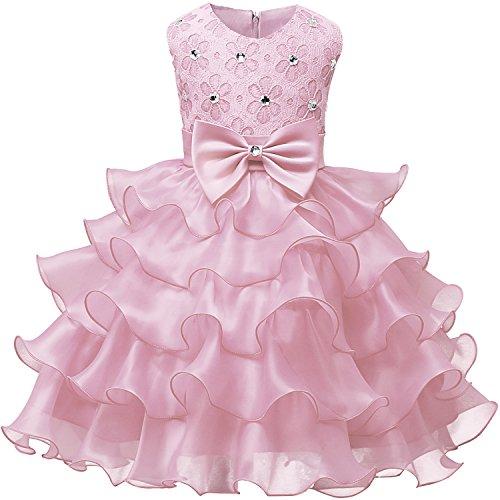 NNJXD Mädchen Kleid Kinder Rüschen Spitze Party Brautkleider Größe(100) 2-3 Jahre Rosa (Rosa Kleider Für Kleine Mädchen)