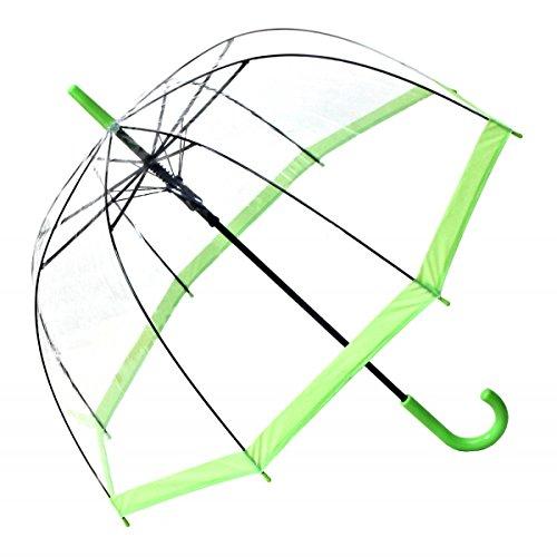 Regenschirm Transparent / Durchsichtig Glockenschirm Automatik hellgüner Rand