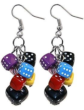 Funky bunten spielen Glückswürfel Haufen Tropfen Ohrringe von Joe Cool - Kitsch