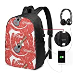 Durable Luggage Backpacks Guitar Rock Music for Business Work School with USB 17In