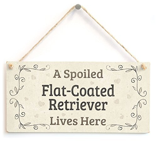 prz0vprz0v A Spoiled Flat-Coated Retriever Lives Here Beautiful Home Accessory Gift Sign for Flat-Coated Retriever Dog Owners Wall Decorative Sign Door Sign 10