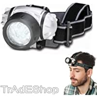 TrAdE shop Traesio® LAMPADA FRONTALE TORCIA DA TESTA LUCE 7 LED BIANCHI A BATTERIE PESCA SPORT