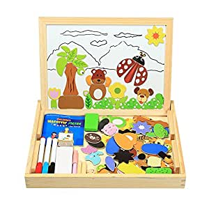 Magnetisches Holzpuzzles, InnooBaby 100 Stück Doppelseitige Holzpuzzle, Magnetisches Verkehrsmittelsformen Holzspielzeug, Puzzle aus Holz, Pädagogische Lernspiel, Tolles Geschenk für Baby Kleinkinder ab 3 Jahre