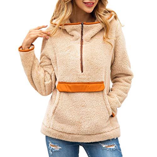 SHINEHUA Damen Teddy-Fleece Pullover Oberteil Damen Tshirt Langarmshirt Herbst Winter Polar Fleeve Sweatshirt Shirt Tops Langarm Pulli Fleecejacke 1/4 Zip -