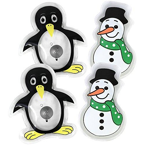 """COM-FOUR® 4x Taschenwärmer """"Schneemann und Pinguin"""", Handwärmer in verschiedenen weihnachtlichen Motiven (04 Stück - Schneemann/Pinguin)"""