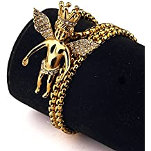 Bañado En Oro De 18K, Set de Colgante de Alas de ángel Corona encanto collares CZ Iced Out cubana Enlace Cadena Hip Hop unisex Bling Jewelry