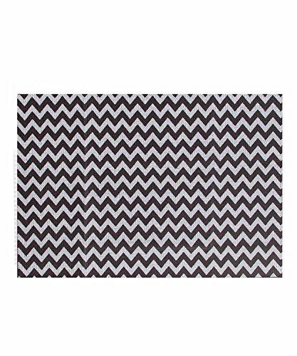Casa Copenhagen alfombra de baño de la colección exótica 600GSM, algodón, Black Zig-Zag, 50 x 70 cm