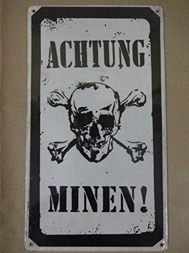 Achtung Minen Vintage Métal Sign - 8W x 14H dans.