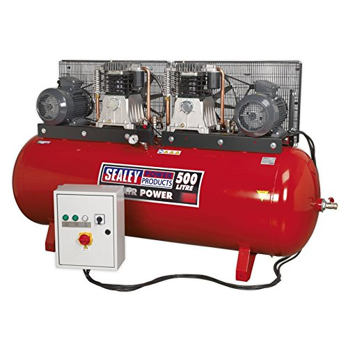 SEALEY sac4505555b 500 L 2 x 5,5 HP 3 PH 2 étapes Compresseur courroie avec cylindres en fonte