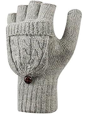 LHZY Mujeres Invierno Caliente Fingerless Knitted mitones con tapa de la aleta Abotonado