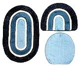 Gökyildiz Badgarnitur 3 tlg. Set 80 x 50 cm oval dunkelblau blau weiß mit Glitzer, 2cm Flor, WC Vorleger ohne Ausschnitt für Hänge-WC