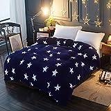 Lanqinglv Warm Winter Stern Bettwäsche Blau 220x240 Biber Microfaser Thermo Fleece Bettbezug Perfekt für Damen Mädchen Kinder